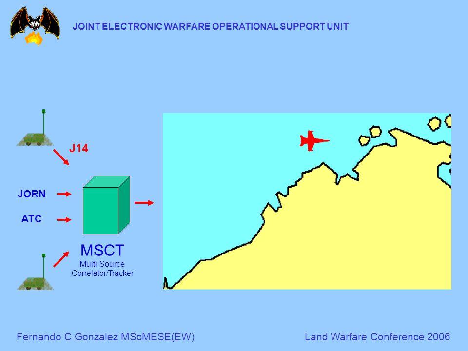 Fernando C Gonzalez MScMESE(EW)Land Warfare Conference 2006 JOINT ELECTRONIC WARFARE OPERATIONAL SUPPORT UNIT MSCT Multi-Source Correlator/Tracker J14