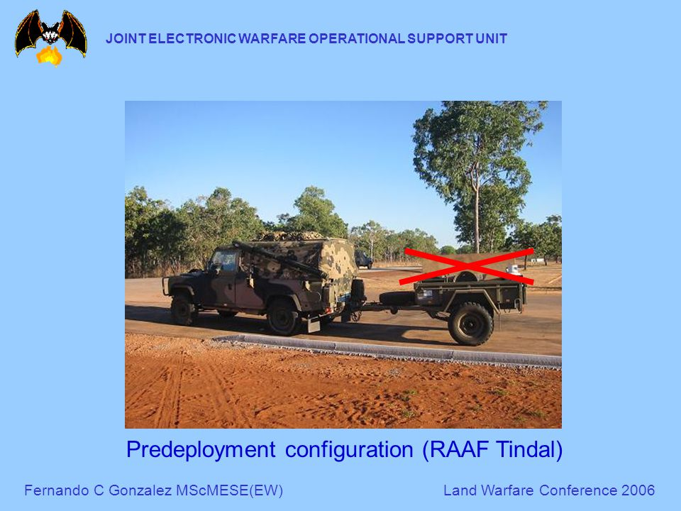 Fernando C Gonzalez MScMESE(EW)Land Warfare Conference 2006 JOINT ELECTRONIC WARFARE OPERATIONAL SUPPORT UNIT Predeployment configuration (RAAF Tindal)