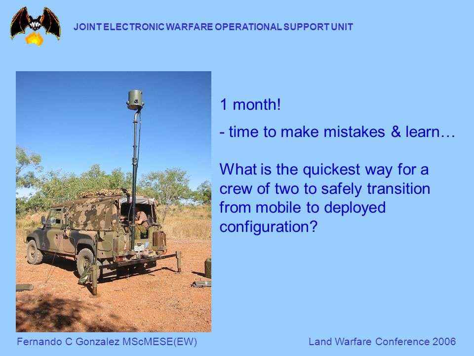 Fernando C Gonzalez MScMESE(EW)Land Warfare Conference 2006 JOINT ELECTRONIC WARFARE OPERATIONAL SUPPORT UNIT 1 month.