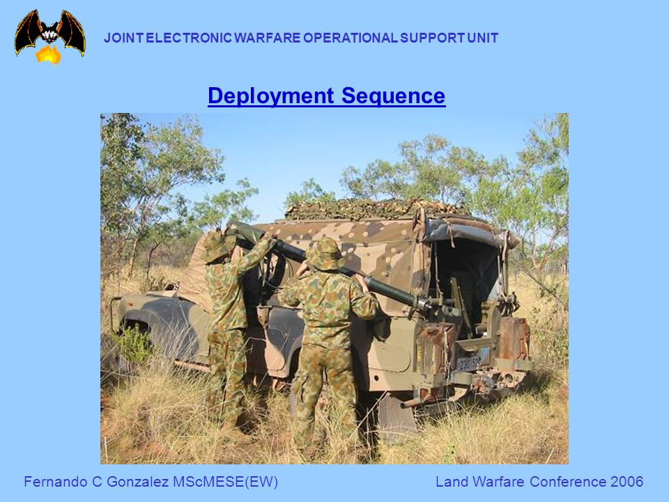 Fernando C Gonzalez MScMESE(EW)Land Warfare Conference 2006 JOINT ELECTRONIC WARFARE OPERATIONAL SUPPORT UNIT Deployment Sequence