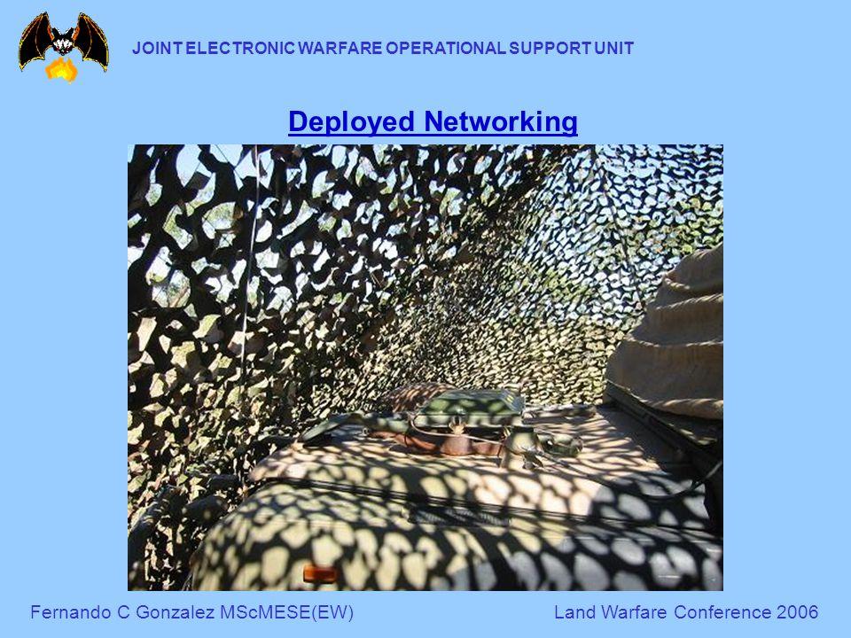 Fernando C Gonzalez MScMESE(EW)Land Warfare Conference 2006 JOINT ELECTRONIC WARFARE OPERATIONAL SUPPORT UNIT Deployed Networking