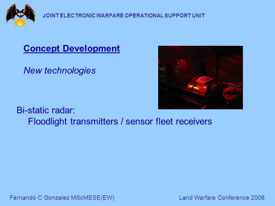 Fernando C Gonzalez MScMESE(EW)Land Warfare Conference 2006 JOINT ELECTRONIC WARFARE OPERATIONAL SUPPORT UNIT Concept Development New technologies Bi-