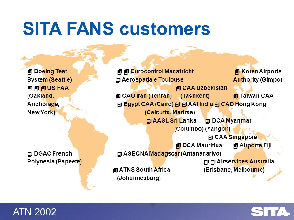 ATN 2002 SITA FANS customers Boeing Test Eurocontrol Maastricht Korea Airports System (Seattle) Aerospatiale Toulouse Authority (Gimpo) US FAA CAA Uzb