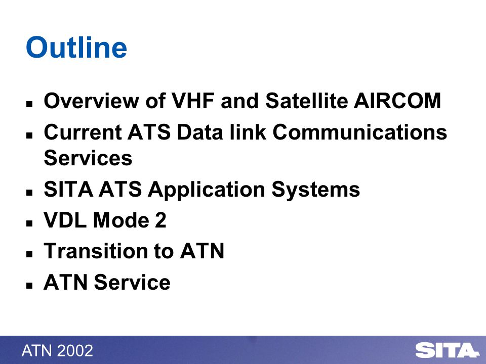 ATN 2002 Outline Overview of VHF and Satellite AIRCOM Current ATS Data link Communications Services SITA ATS Application Systems VDL Mode 2 Transition