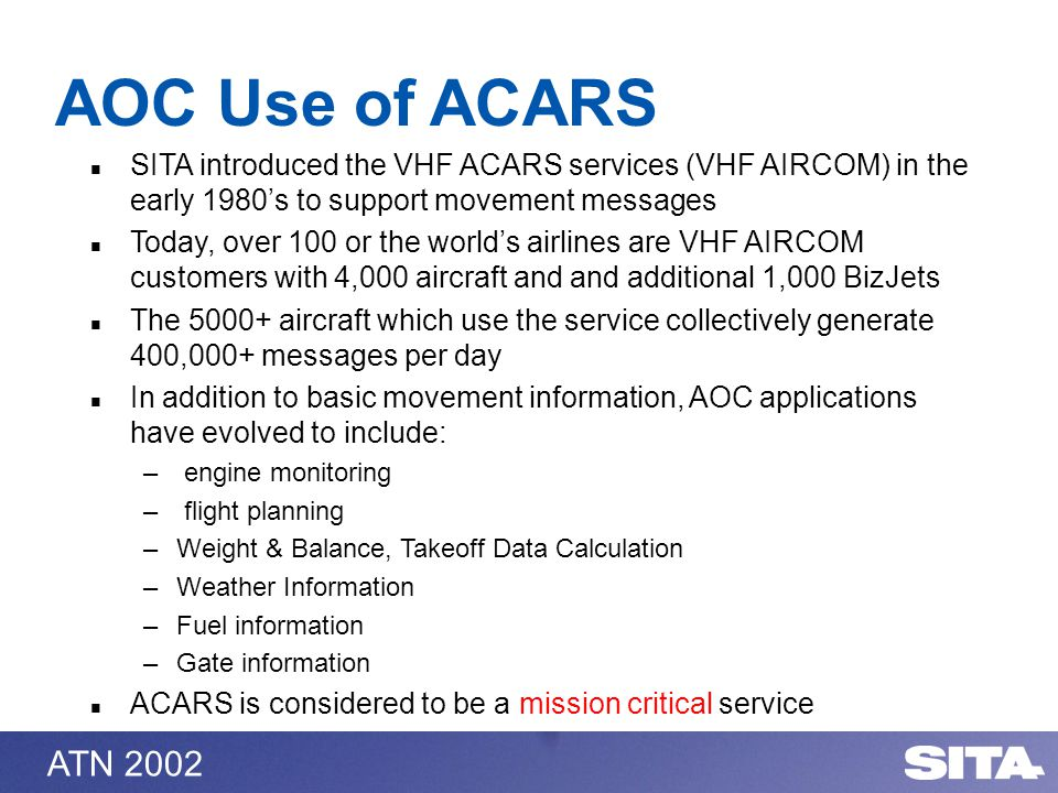 ATN 2002 SITA introduced the VHF ACARS services (VHF AIRCOM) in the early 1980s to support movement messages Today, over 100 or the worlds airlines are VHF AIRCOM customers with 4,000 aircraft and and additional 1,000 BizJets The 5000+ aircraft which use the service collectively generate 400,000+ messages per day In addition to basic movement information, AOC applications have evolved to include: – engine monitoring – flight planning –Weight & Balance, Takeoff Data Calculation –Weather Information –Fuel information –Gate information ACARS is considered to be a mission critical service AOC Use of ACARS