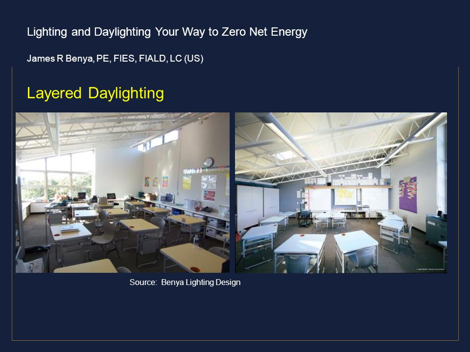 Lighting and Daylighting Your Way to Zero Net Energy James R Benya, PE, FIES, FIALD, LC (US) Layered Daylighting Toplight, sidelight, clerestory Sourc