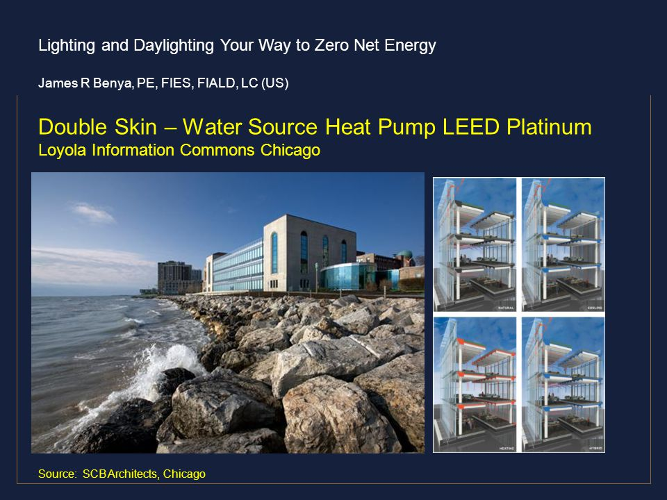 Lighting and Daylighting Your Way to Zero Net Energy James R Benya, PE, FIES, FIALD, LC (US) Double Skin – Water Source Heat Pump LEED Platinum Loyola