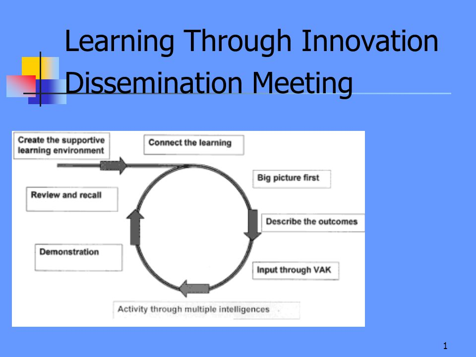 1 Learning Through Innovation Dissemination Meeting