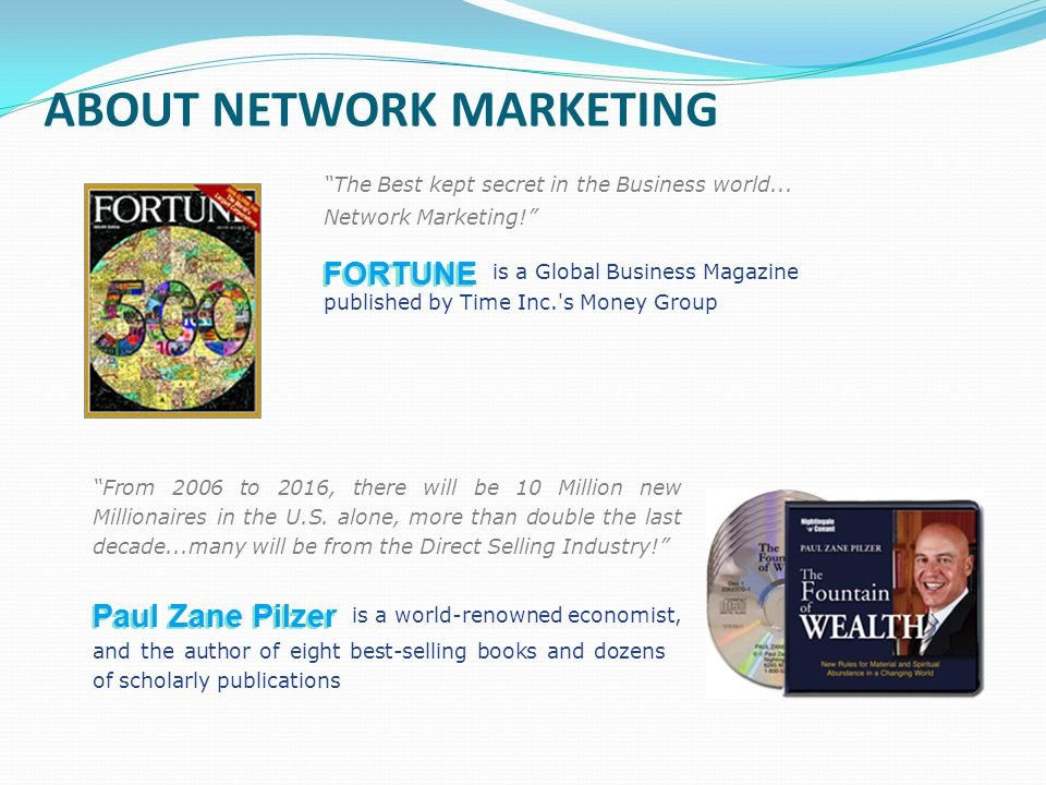 ABOUT NETWORK MARKETING The Best kept secret in the Business world... Network Marketing! is a Global Business Magazine From 2006 to 2016, there will b