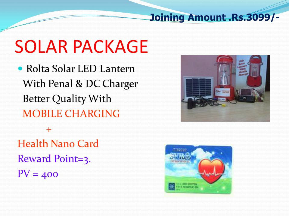 SOLAR PACKAGE Rolta Solar LED Lantern With Penal & DC Charger Better Quality With MOBILE CHARGING + Health Nano Card Reward Point=3. PV = 400 Joining
