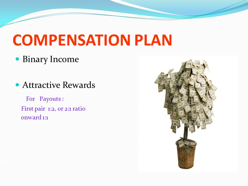 COMPENSATION PLAN Binary Income Attractive Rewards For Payouts : First pair 1:2, or 2:1 ratio onward 1:1