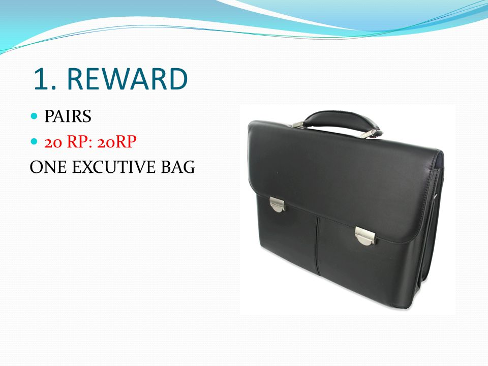 1. REWARD PAIRS 20 RP: 20RP ONE EXCUTIVE BAG
