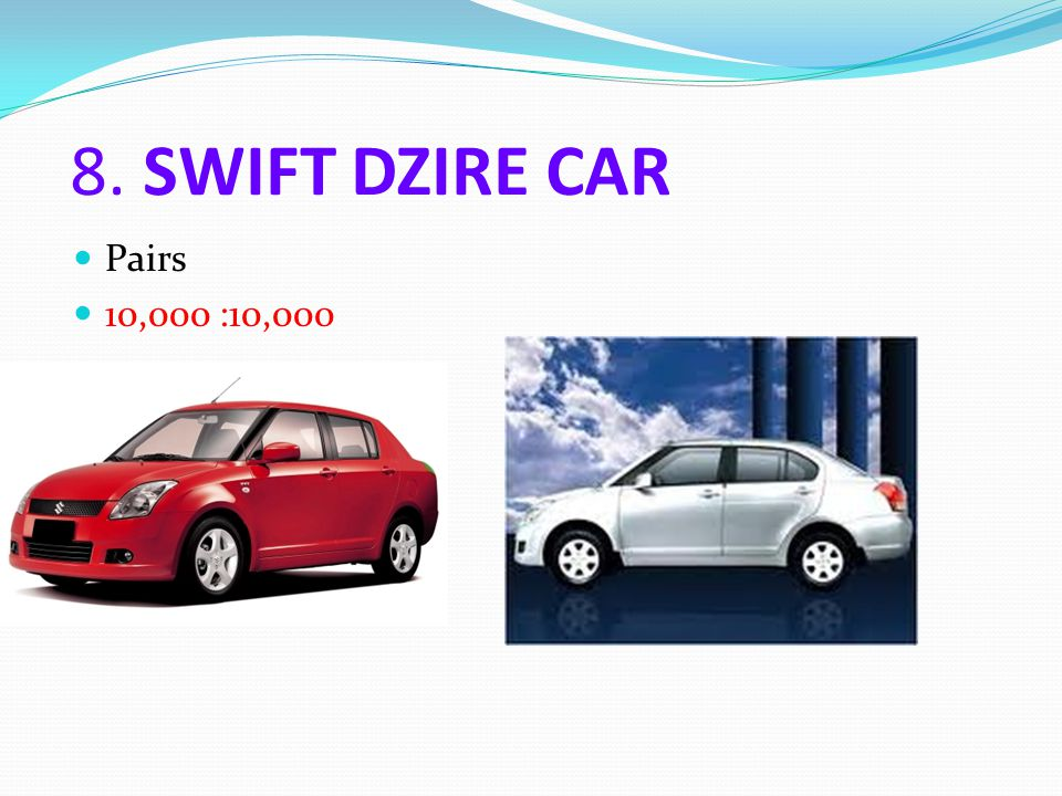 8. SWIFT DZIRE CAR Pairs 10,000 :10,000