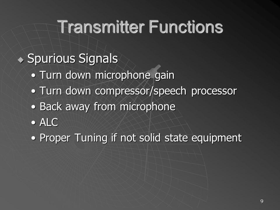 10 Transmitter Functions Microphones Microphones HandHand DeskDesk BoomBoom HeadsetHeadset ThroatThroat VOX vs Manual VOX vs Manual