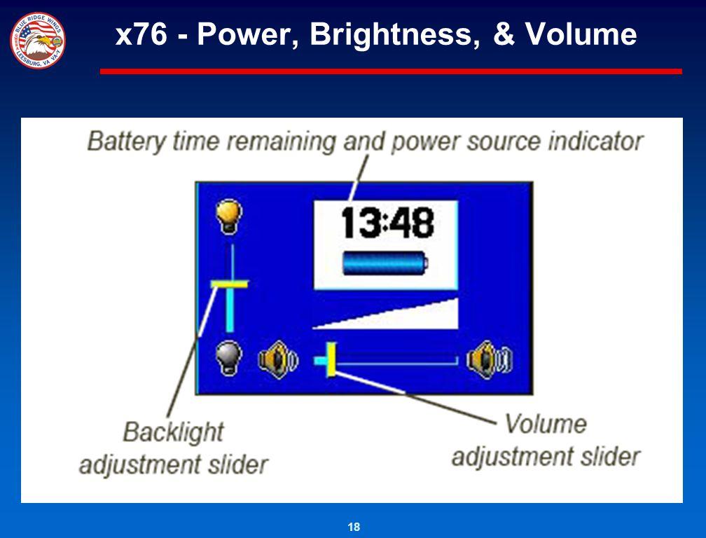 18 x76 - Power, Brightness, & Volume