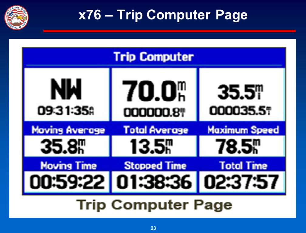 23 x76 – Trip Computer Page