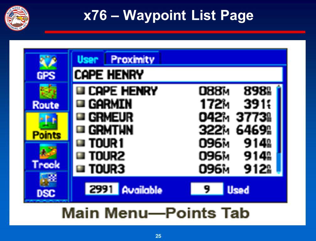 25 x76 – Waypoint List Page