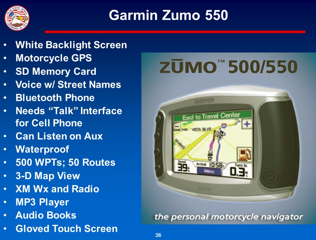 26 Garmin Zumo 550 White Backlight Screen Motorcycle GPS SD Memory Card Voice w/ Street Names Bluetooth Phone Needs Talk Interface for Cell Phone Can