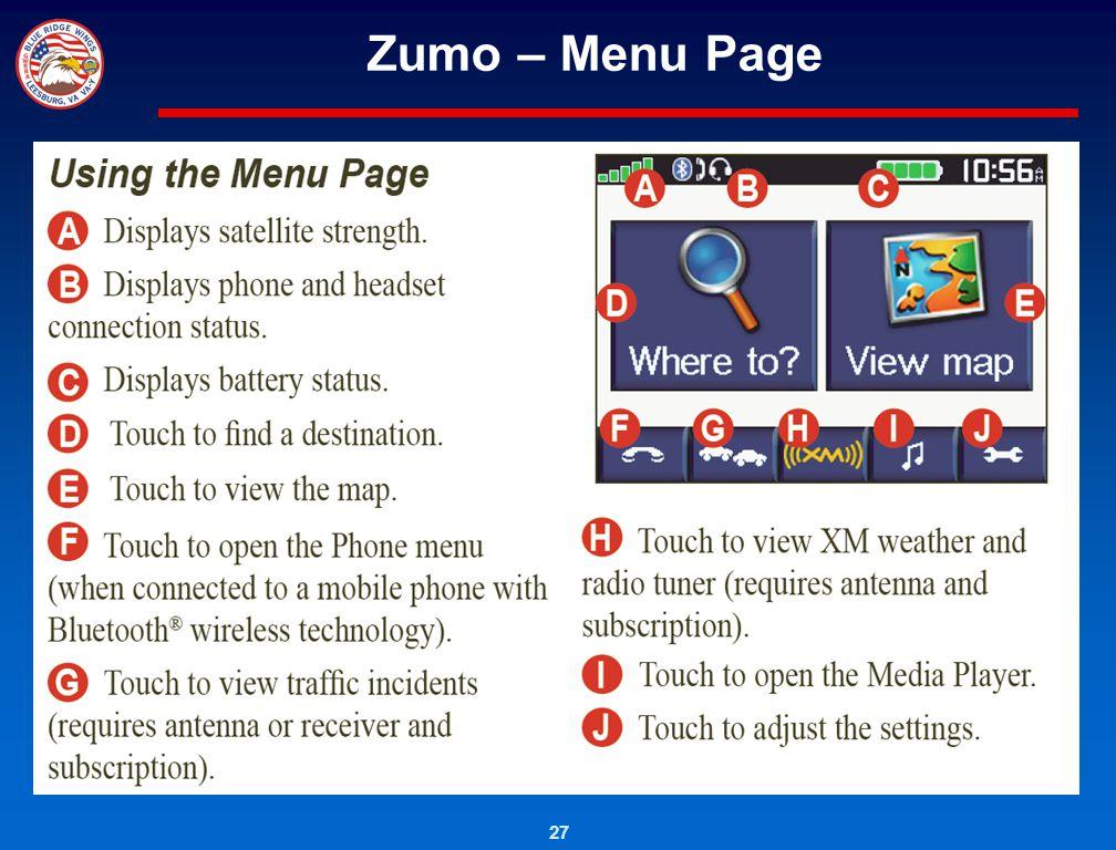 27 Zumo – Menu Page