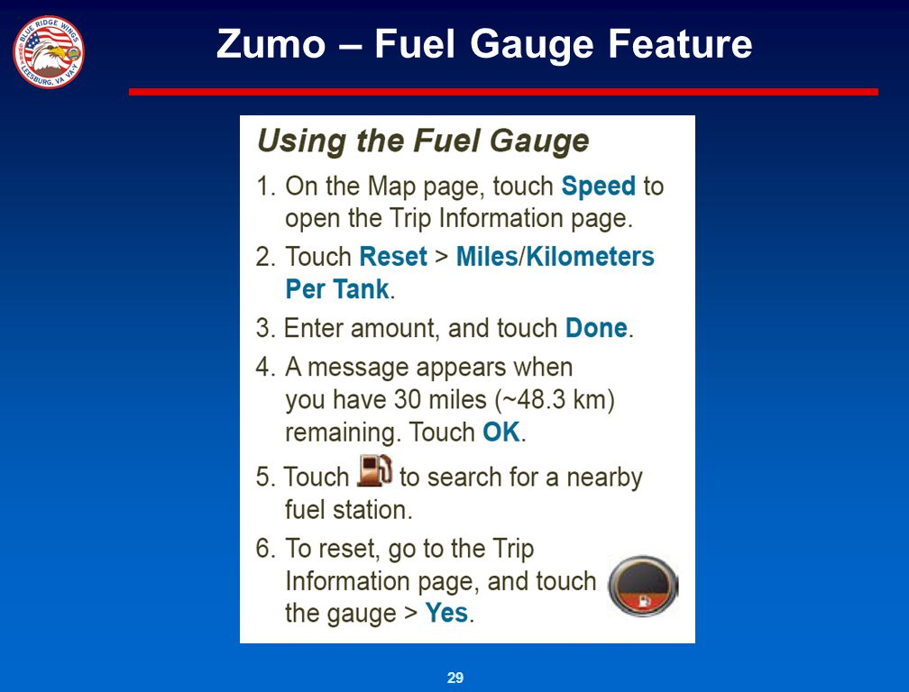 29 Zumo – Fuel Gauge Feature