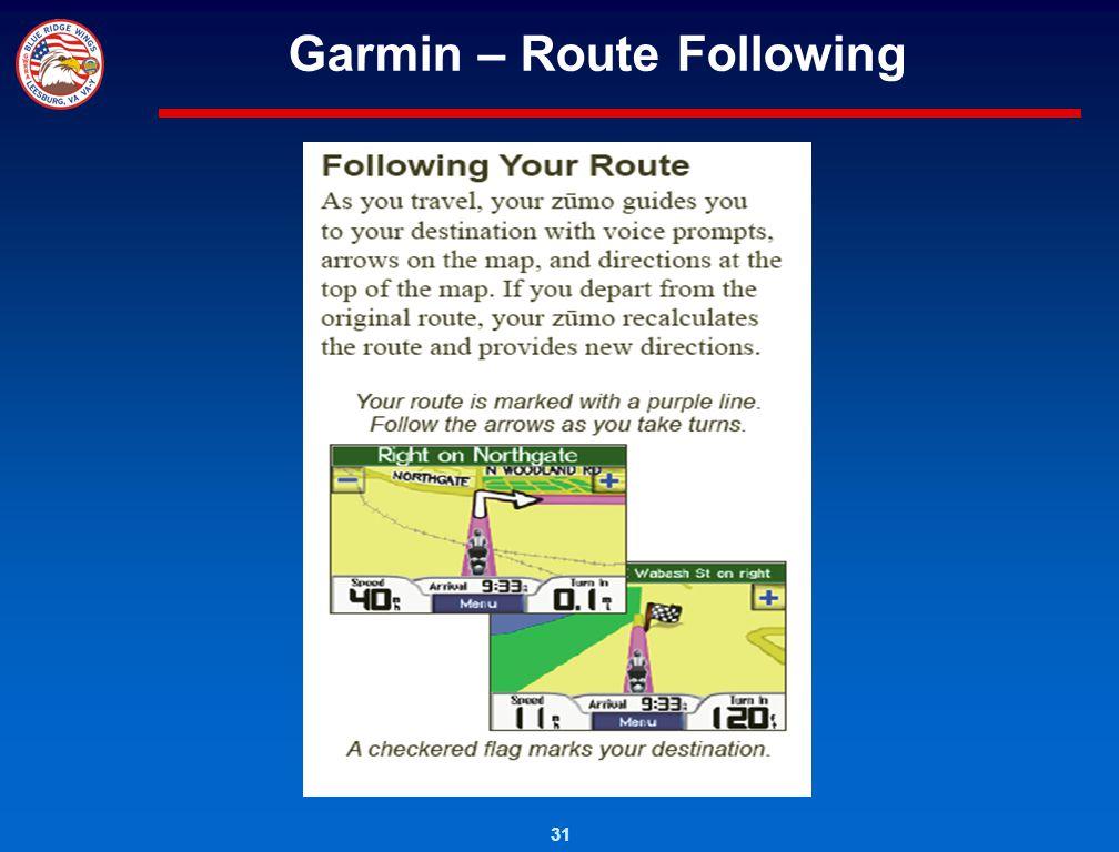31 Garmin – Route Following