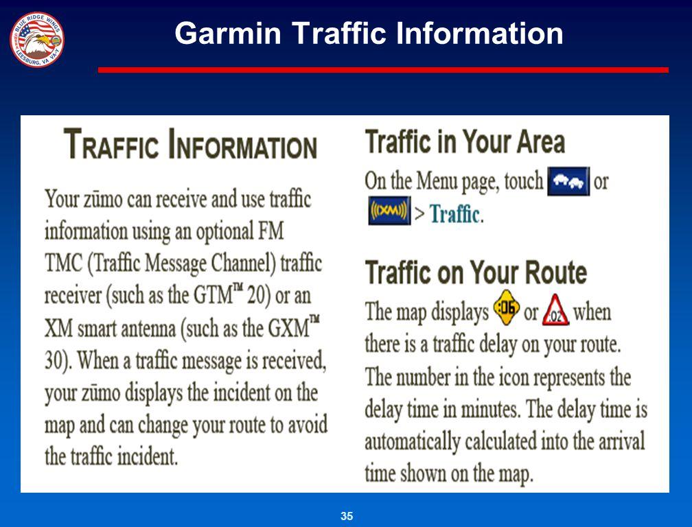 35 Garmin Traffic Information