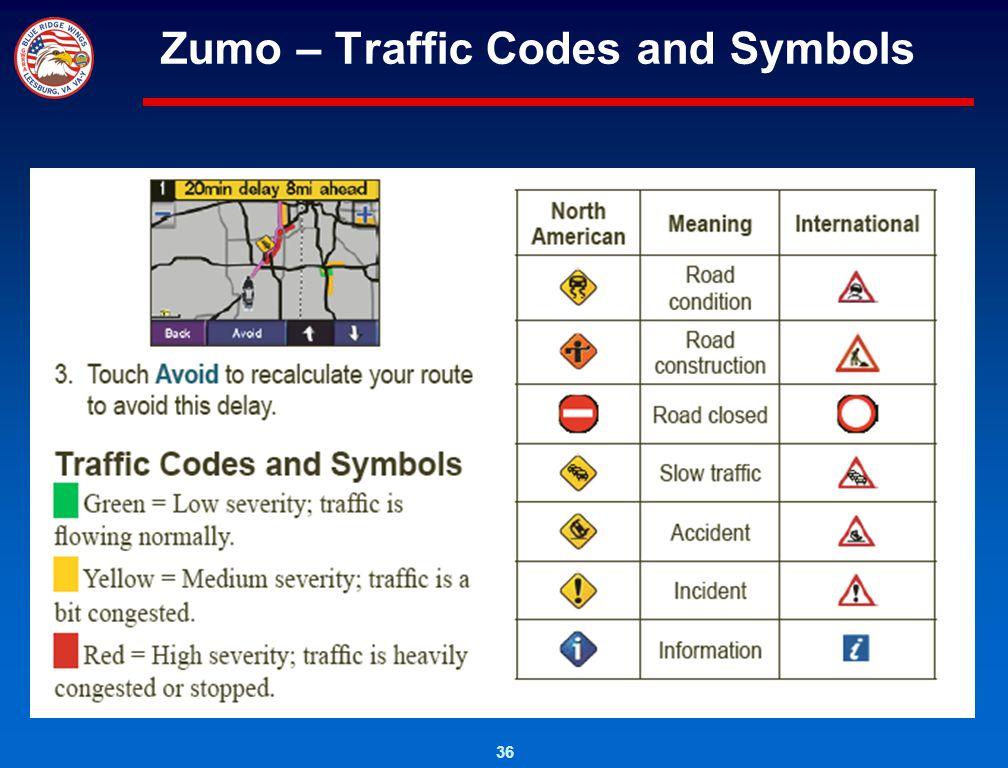 36 Zumo – Traffic Codes and Symbols
