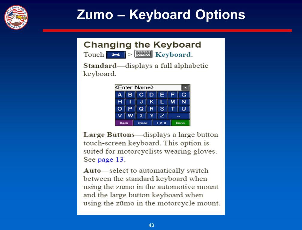 43 Zumo – Keyboard Options