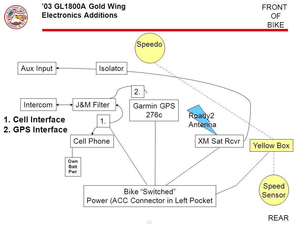 45 Garmin GPS 276c Yellow Box FRONT OF BIKE REAR 03 GL1800A Gold Wing Electronics Additions Roady2 Antenna Aux Input Intercom Speedo Cell Phone Bike S