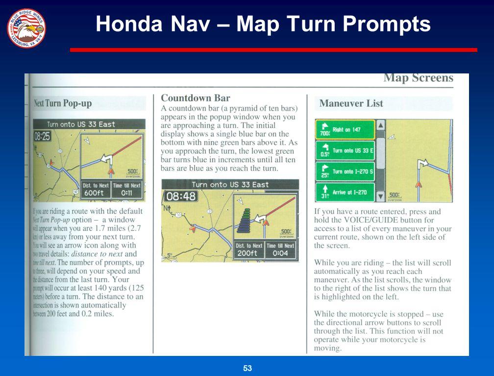 53 Honda Nav – Map Turn Prompts