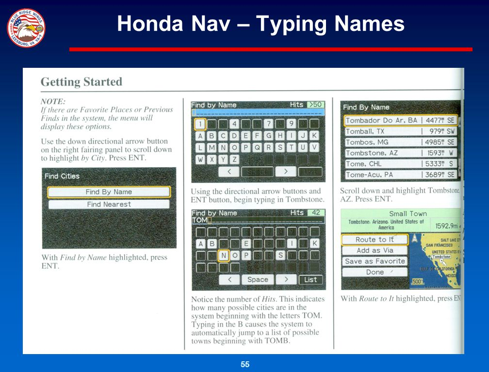 55 Honda Nav – Typing Names