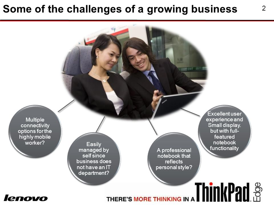 2 Some of the challenges of a growing business Multiple connectivity options for the highly mobile worker.