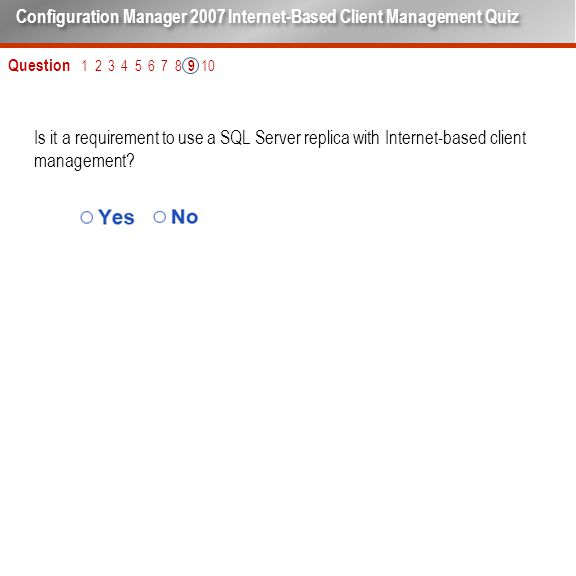 Is it a requirement to use a SQL Server replica with Internet-based client management.