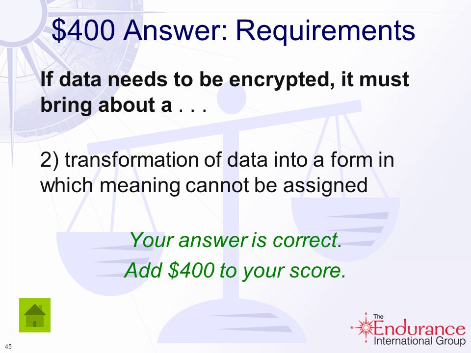 44 $400 Answer: Requirements If data needs to be encrypted, it must bring about a...
