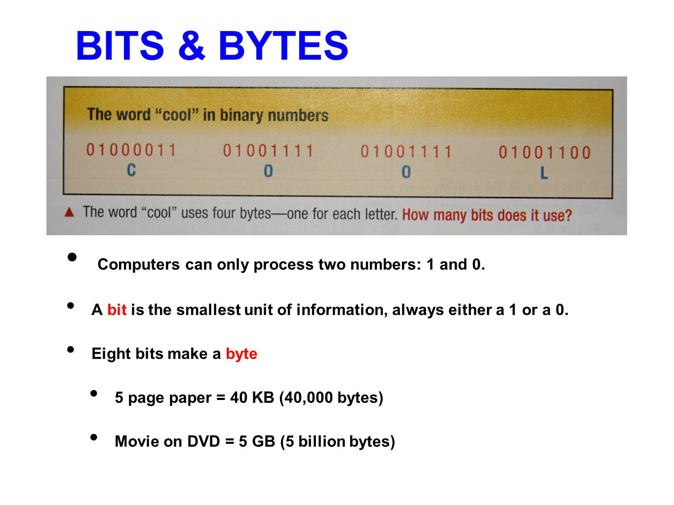 BITS & BYTES Computers can only process two numbers: 1 and 0.