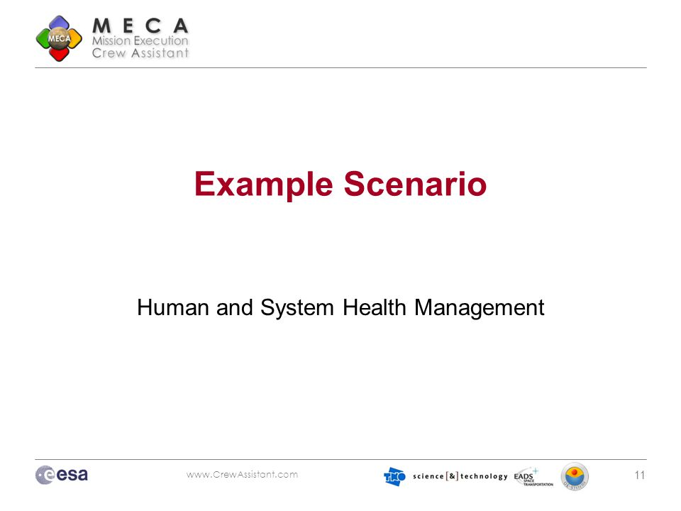www.CrewAssistant.com 11 Example Scenario Human and System Health Management
