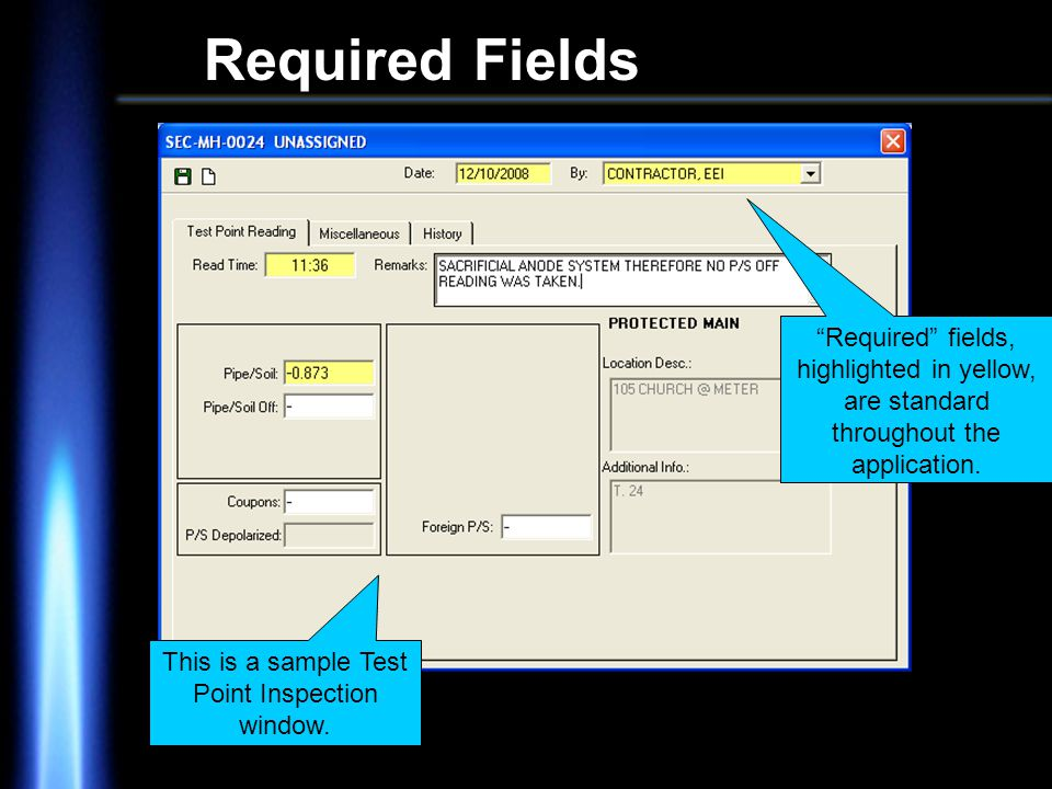 Required Fields Required fields, highlighted in yellow, are standard throughout the application.