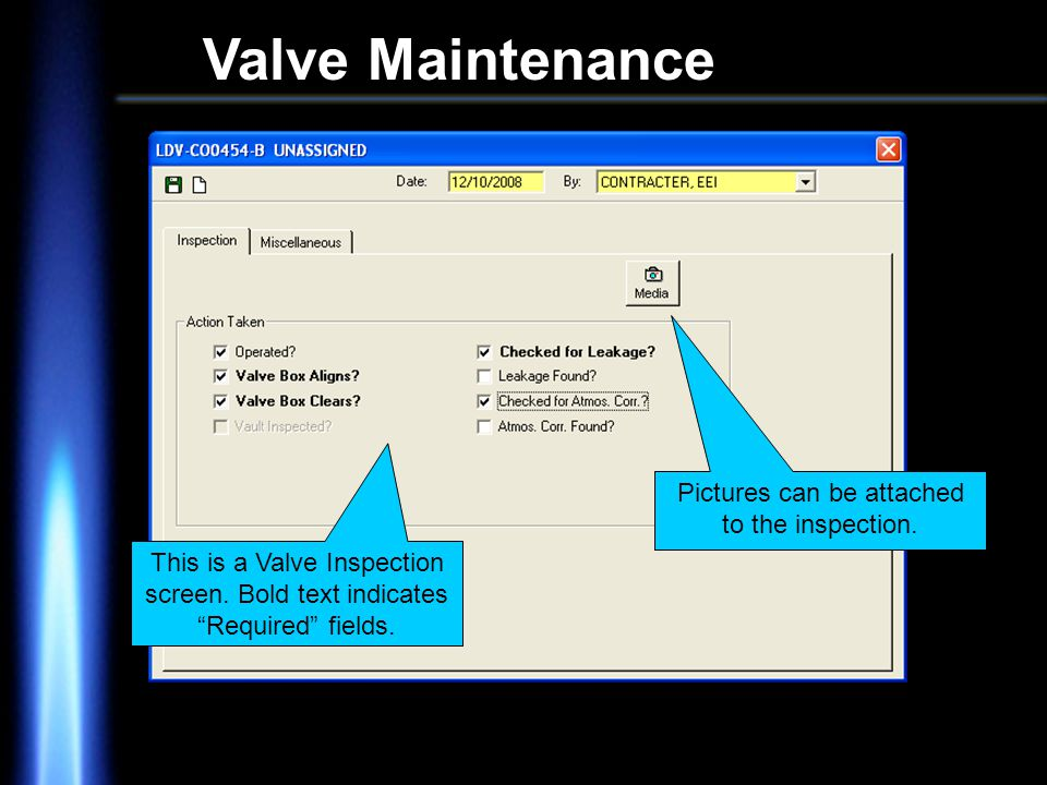 Valve Maintenance This is a Valve Inspection screen.