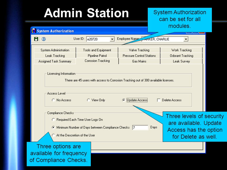 Admin Station System Authorization can be set for all modules.