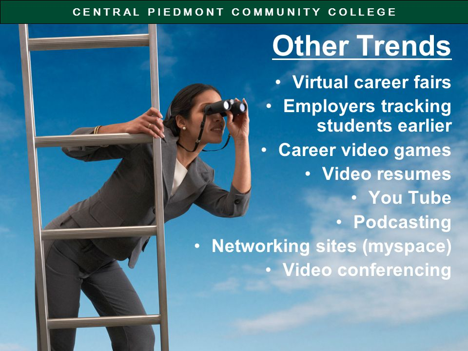 C E N T R A L P I E D M O N T C O M M U N I T Y C O L L E G E Other Trends Virtual career fairs Employers tracking students earlier Career video games Video resumes You Tube Podcasting Networking sites (myspace) Video conferencing