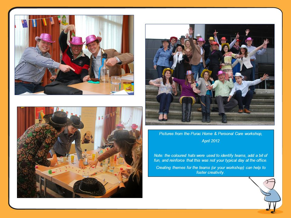 Pictures from the Purac Home & Personal Care workshop, April 2012 Note: the coloured hats were used to identify teams, add a bit of fun, and reinforce that this was not your typical day at the office.
