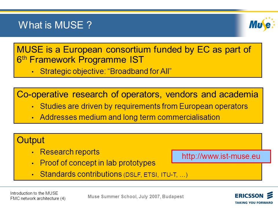 Muse Summer School, July 2007, Budapest Introduction to the MUSE FMC network architecture (4) MUSE is a European consortium funded by EC as part of 6