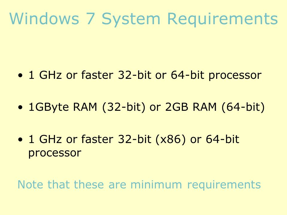 Windows 7 System Requirements 1 GHz or faster 32-bit or 64-bit processor 1GByte RAM (32-bit) or 2GB RAM (64-bit) 1 GHz or faster 32-bit (x86) or 64-bit processor Note that these are minimum requirements