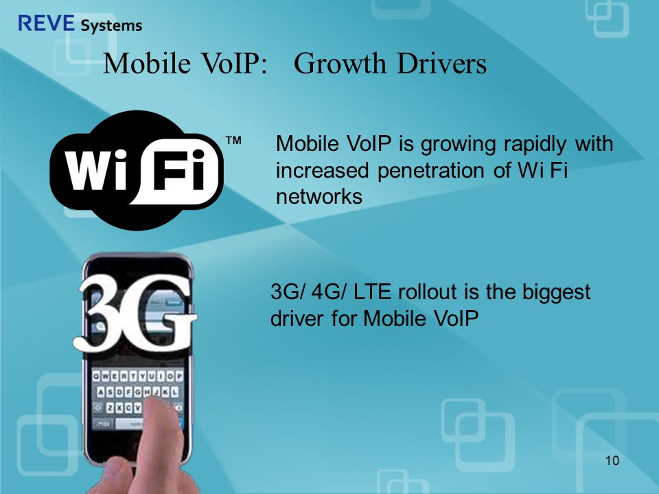 Mobile VoIP: Growth Drivers Mobile VoIP is growing rapidly with increased penetration of Wi Fi networks 3G/ 4G/ LTE rollout is the biggest driver for