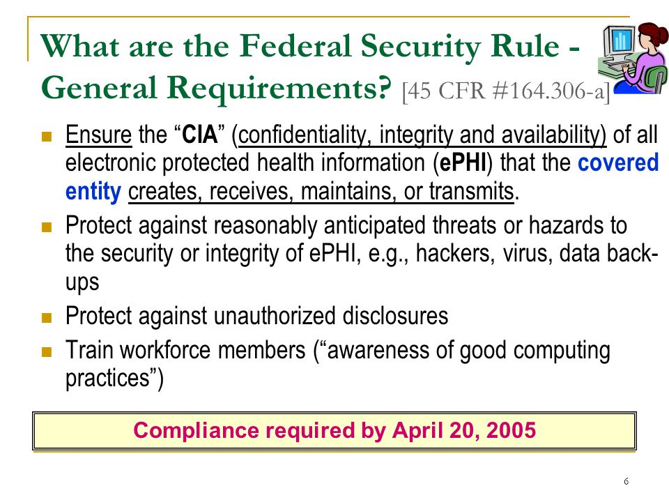 6 What are the Federal Security Rule - General Requirements.