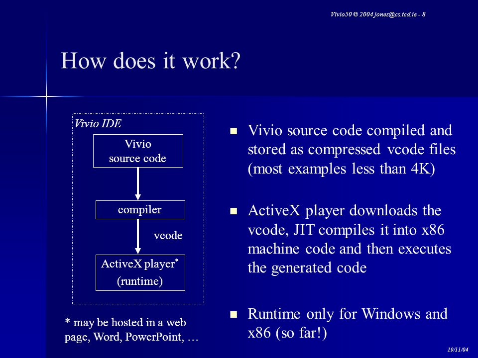 Vivio50 © 2004 jones@cs.tcd.ie - 8 19/11/04 How does it work? Vivio source code compiler ActiveX player * (runtime) Vivio IDE * may be hosted in a web