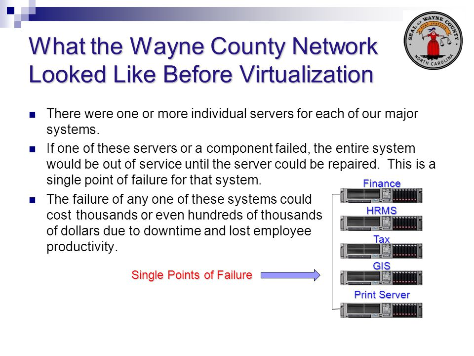 What the Wayne County Network Looked Like Before Virtualization There were one or more individual servers for each of our major systems. If one of the