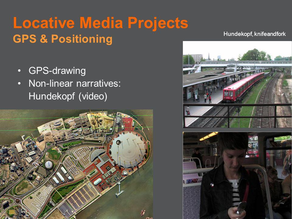 GPS-drawing Non-linear narratives: Hundekopf (video) Locative Media Projects GPS & Positioning Hundekopf, knifeandfork