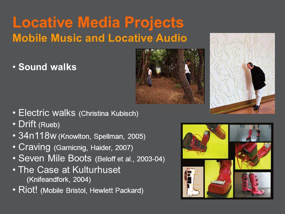 Sound walks Electric walks (Christina Kubisch) Drift (Rueb) 34n118w (Knowlton, Spellman, 2005) Craving (Garnicnig, Haider, 2007) Seven Mile Boots (Bel