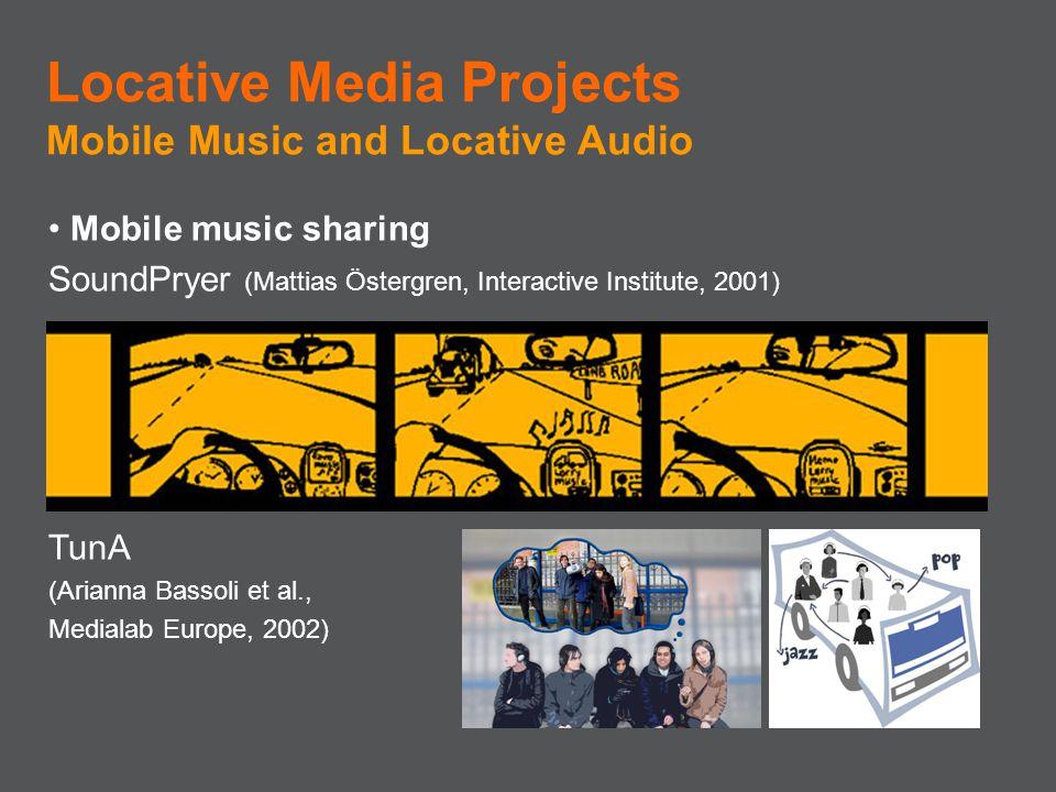 Mobile music sharing SoundPryer (Mattias Östergren, Interactive Institute, 2001) TunA (Arianna Bassoli et al., Medialab Europe, 2002) Locative Media P